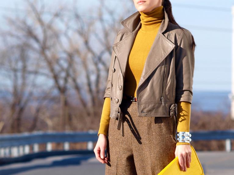 bittersweet colours, Michael Kors, orange, vintage, yellow, Zara, leather jacket, street style,