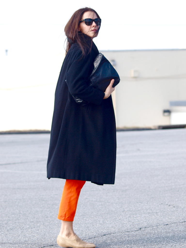 bittersweet colours, Calvin Klein Collection, Max Azria, orange, Ralph Lauren, vintage coat, street style,