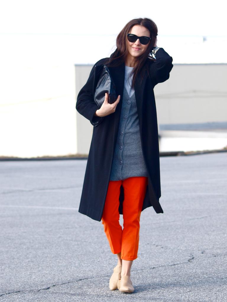 bittersweet colours, Calvin Klein Collection, Max Azria, orange, Ralph Lauren, vintage coat, street style,