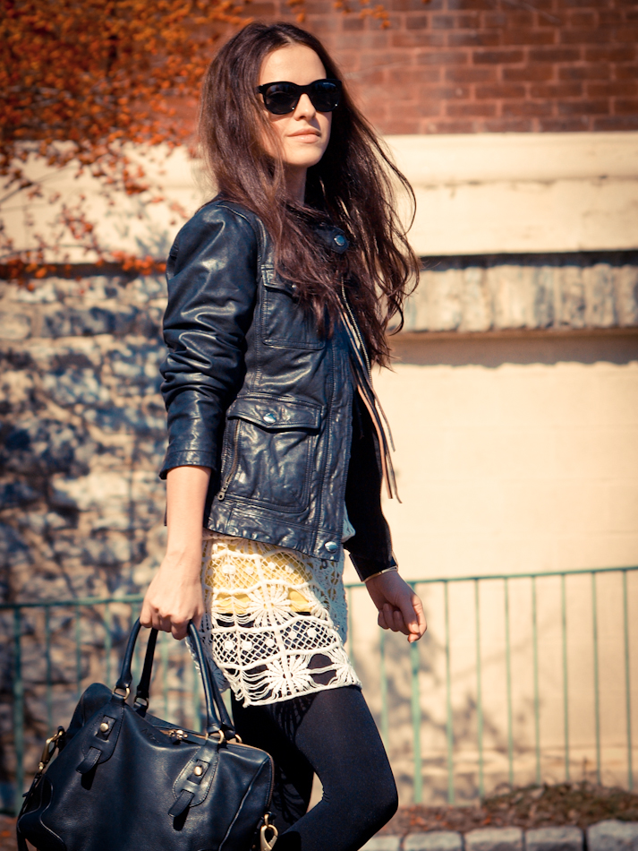 bittersweet colours, Calvin Klein Collection, DIY, Lace, Ralph Lauren, street style, lace dress, leather jacket,