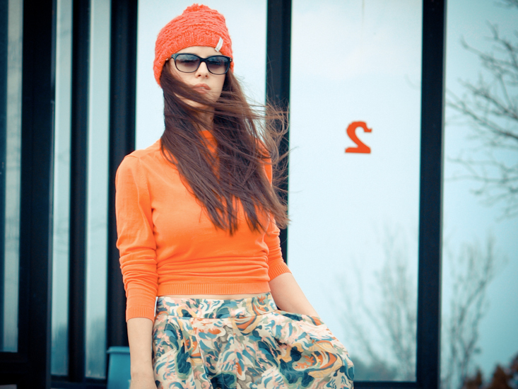 bittersweet colours, Chloe, COLLABORATIONS, Elizabeth and James, French Connection, J Crew, orange beanie, ploral print,