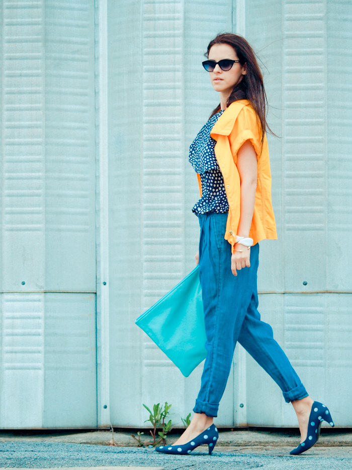 Street style, American Apparel, bittersweet colours, COLLABORATIONS, COLORS, denim, denim trend, Mango, outfit post, polka dots,  Spring trends, Tibi, vintage, yellow