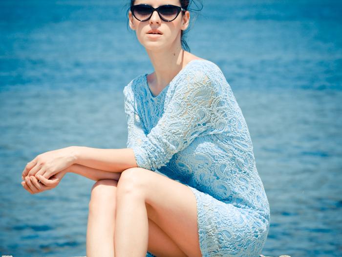 bittersweet colours, beach, lace dress, baby blue dress, pastels, summer fashion