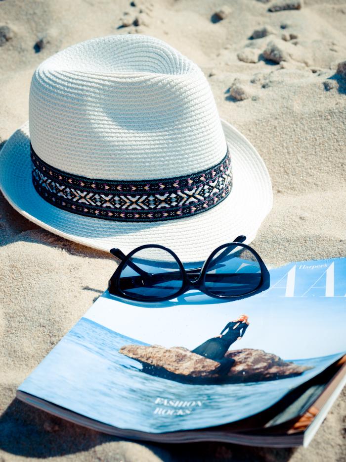 bittersweet colours, ocean, beach day outfit, beach look, white dress, summer dress, fedora hat,