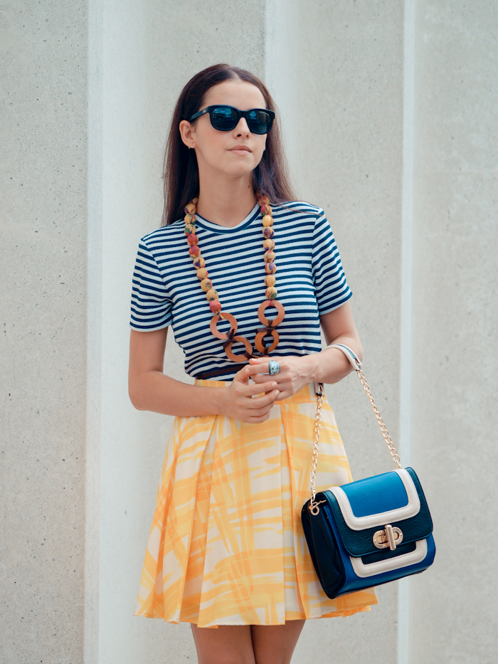 bittersweet colours, street style, colors, casual style, floral print, summer style, stripes, DIY necklace,