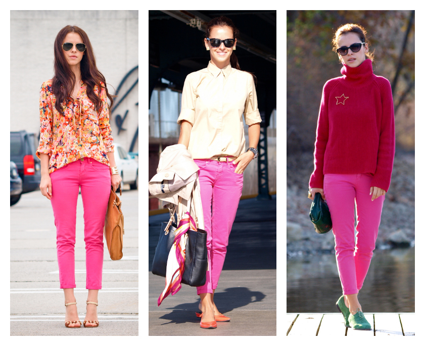 bittersweet colours, street style, jeans, pink jeans, versatile style