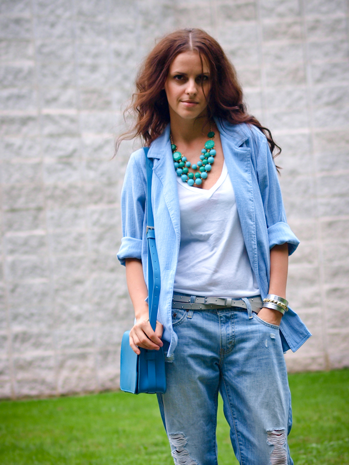 bittersweet colours, street style, denim suit, denim on denim, metallic heels,
