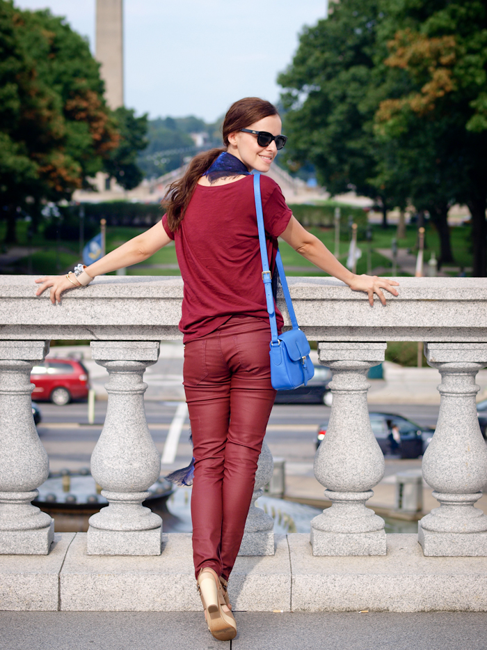 bittersweet colours, street style, denim suit, monochrome look, burgundy, burgundy color,