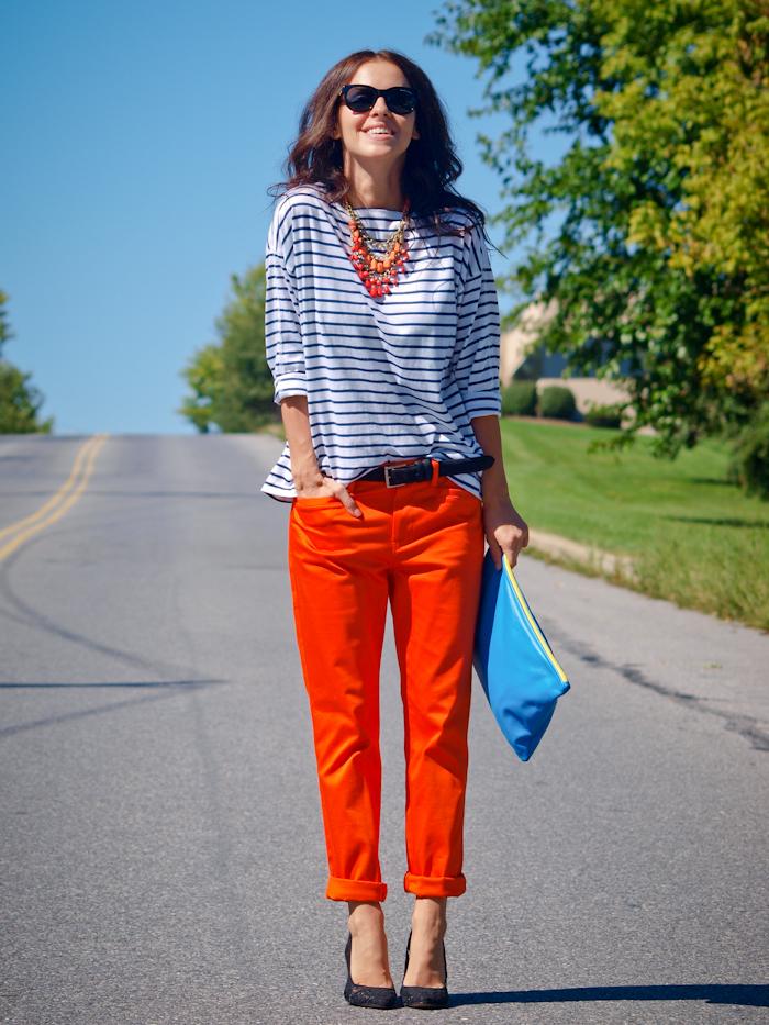 bittersweet colours, street style,  color, american apparel clutch, stripes print, orange pants,
