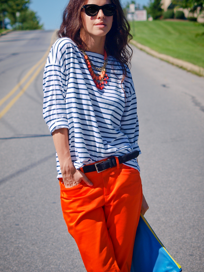 bittersweet colours, street style,  color, american apparel clutch, stripes print, orange pants,