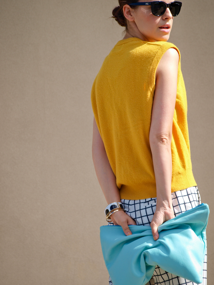bittersweet colours, street style,  color, benetton vest, american apparel clutch, grids print,