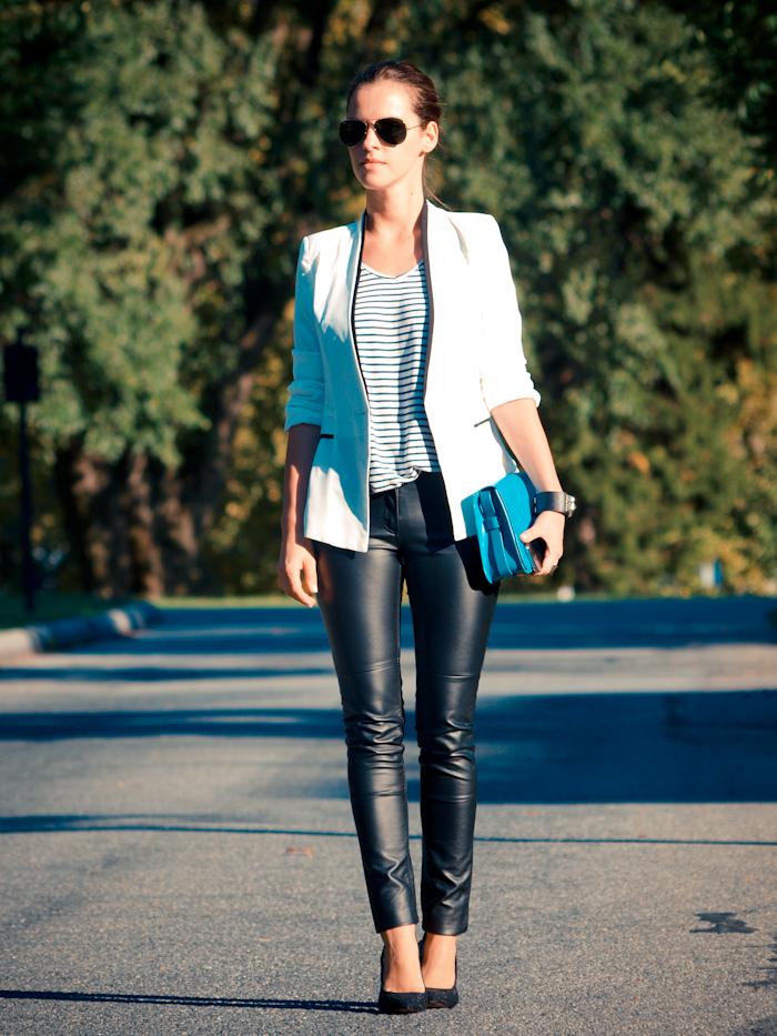bittersweet colours, street style, stripes, letaher pants,