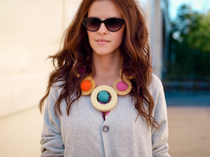 diy jewelry, DIY necklace, bittersweet colours, sweater weather, street style, floral dress