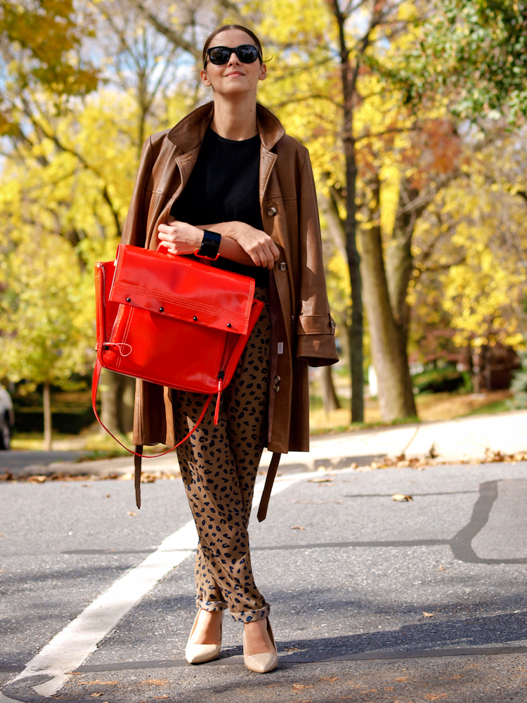 bittersweet colours, leopard print pants, 3.1 phillip lim bag, red bag, leather trench coat, fall street style, street style,