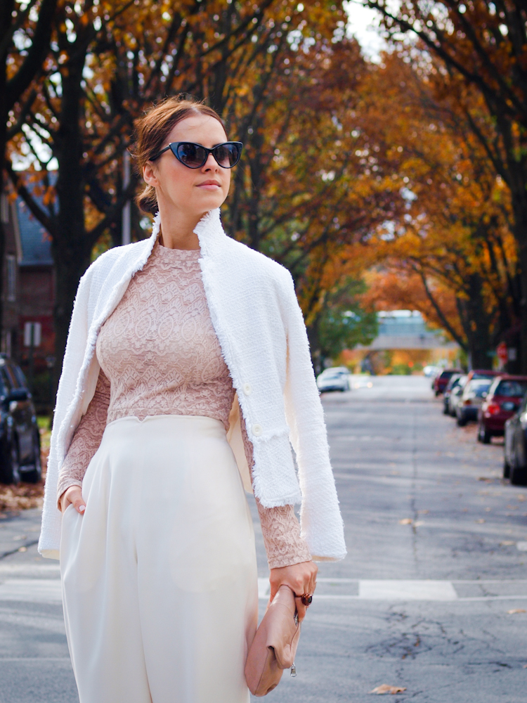 bittersweet colours, street style, white on white, blush tones, lace, diesel, eye cat sunglasses,