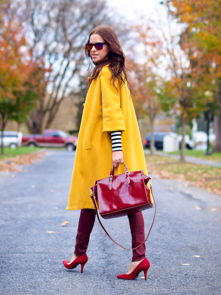 bittersweet colours, yellow coat, colorful coats, fall street style, street style, burgundy color,