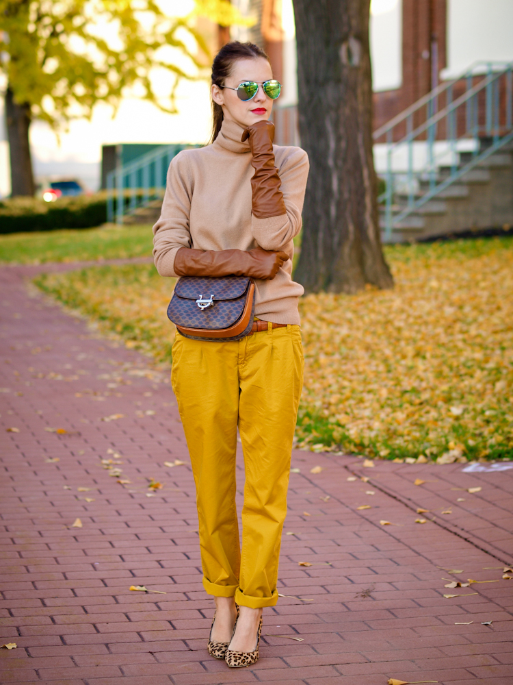 bittersweet colours, street style, fall colors, fall trends, mustard, leather gloves, leopard print pumps,