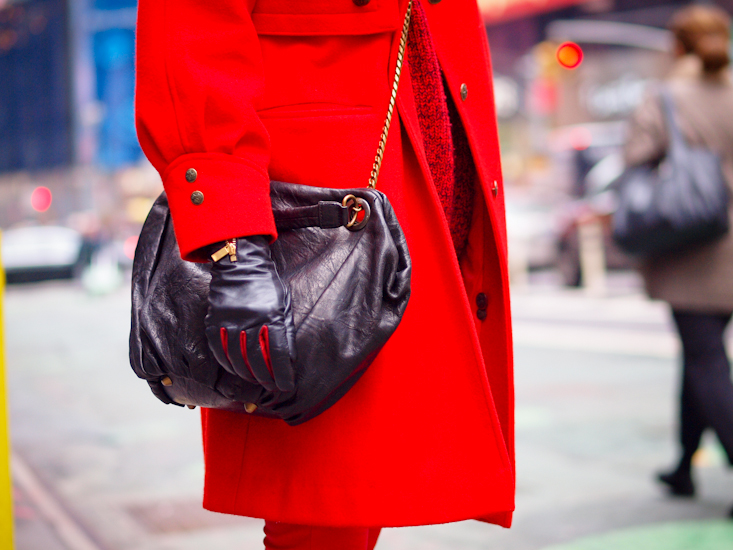 bittersweet colours, New York, street style, holidays, christmas tree, red coat, colorful coats,