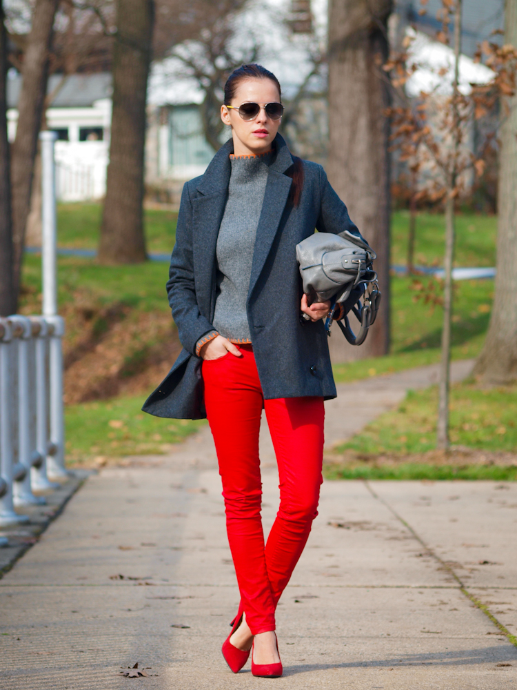 bittersweet colours, colorful coats, street style, red jeans, red shoes, fall/ winter trends, costume national bag, prada sunglasses,