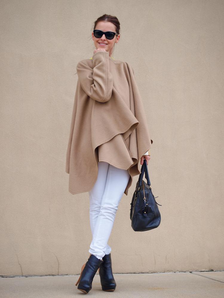bittersweet colours, camel cape, camel coat, street style, white jeans, camel and white, street style,