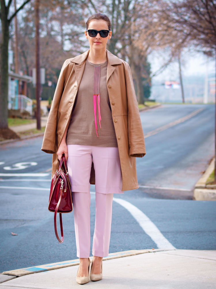 bittersweet colours, leather trench , leather coat, camel coat,  pastels, fall street style,