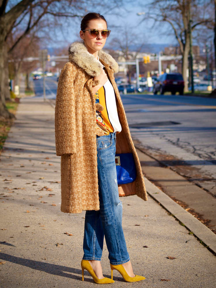 bittersweet colours, colorful coats, street style, boyfriend jeans, yellow shoes, fall/ winter trends