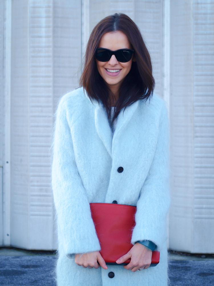 bittersweet colours, baby blue coat, pastels, pastels trend, 3.1 phillip lim bag, street style, white coat winter, colorful coats, monochrome look, winter street style,