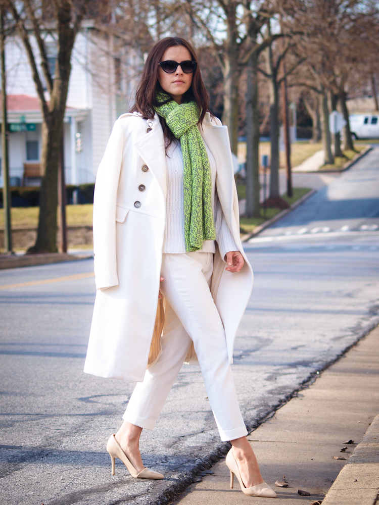 bittersweet colours, winter coats, white coat, white on white trend, street style,