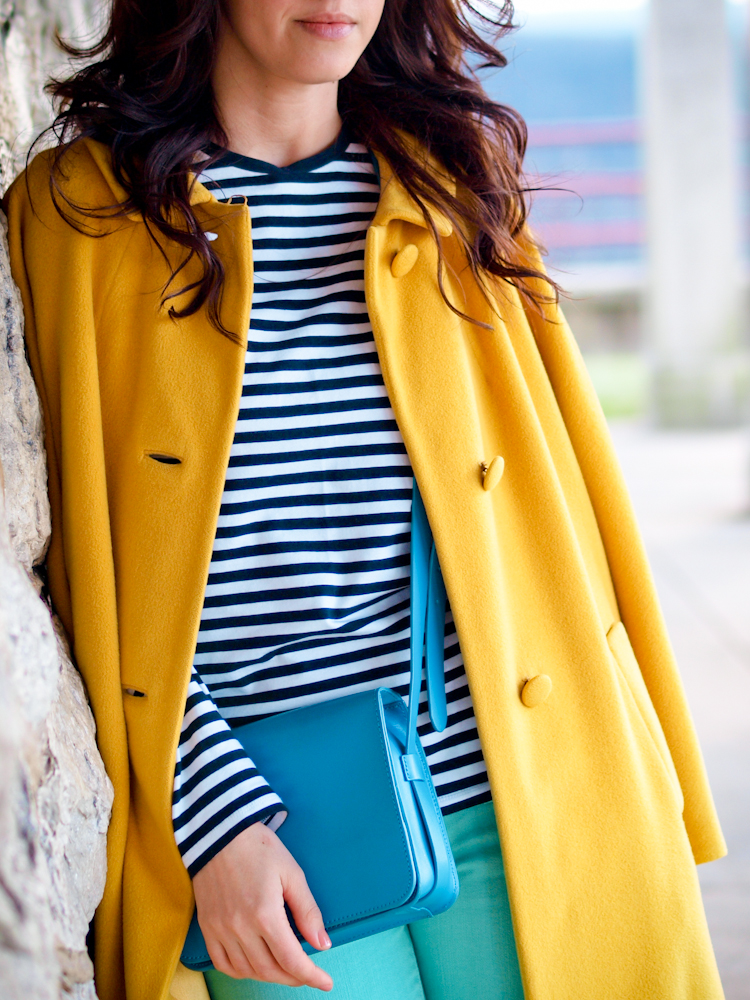 bittersweet colours, colorful coats, fall coats, street style, yellow coat, stripes, pastels,