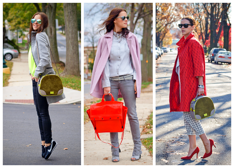 bittersweet colours, colorful coats, fall coats, street style,  2012 outfits, colors,