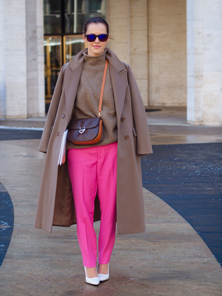 bittersweet colours, lincoln Center nyfw, nyfw, street style, celine vintage bag, colorful coats, camel coat, pink pants, j.crew pants, Delpozo collection,