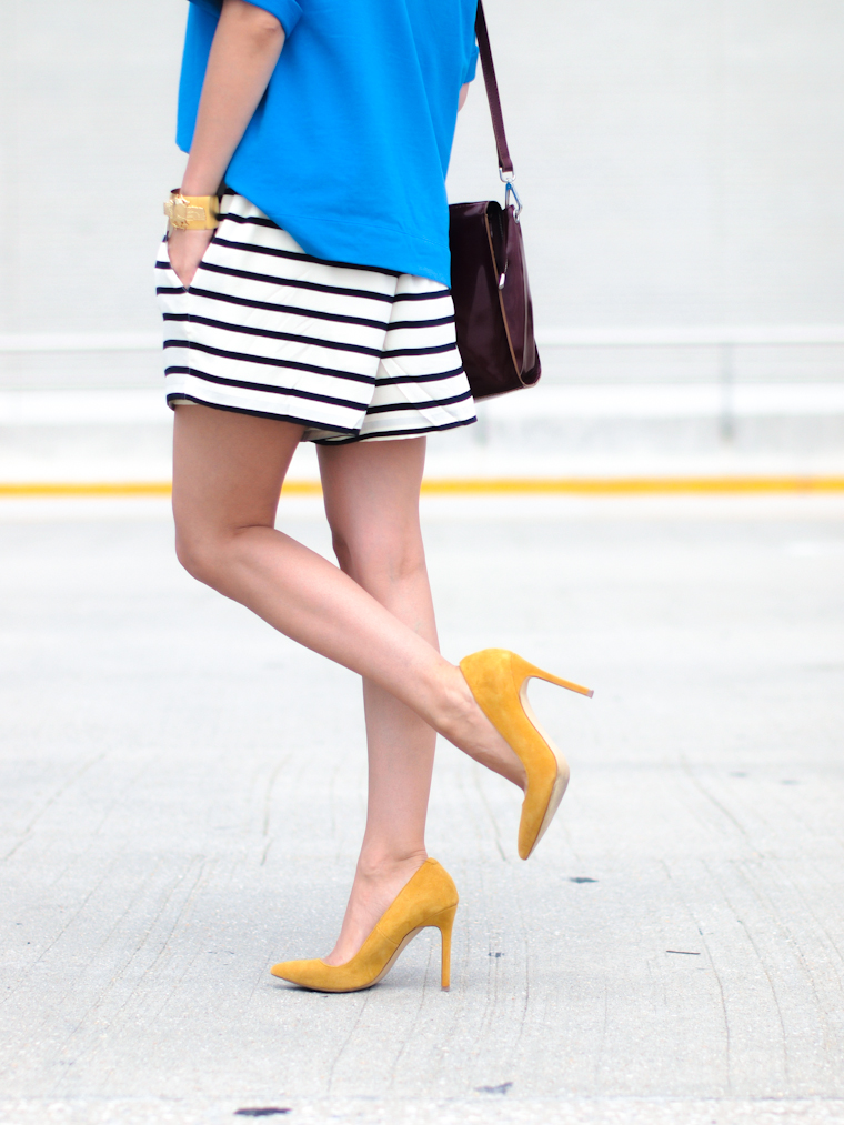 bermuda shorts, bittersweet colours, Gorjana jewelry, Joe fresh, mirrored sunglasses, Shoemint shoes, street style, stripes, Summer 2013 trends, sweatshirt, Zara,
