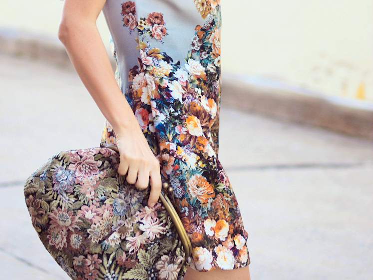 Baroque trend, BCBGeneration, bittersweet colours, floral prints, Floral trend, Monet, Paul & Joe sister, street style, vintage,