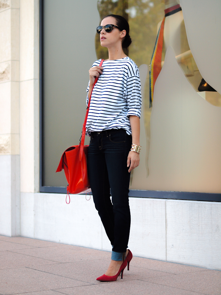 3.1 Phillip Lim, Americana Manhasset, bittersweet colours, jeans, Lucky Brand, New York, Nine West, RED, street style, stripes,