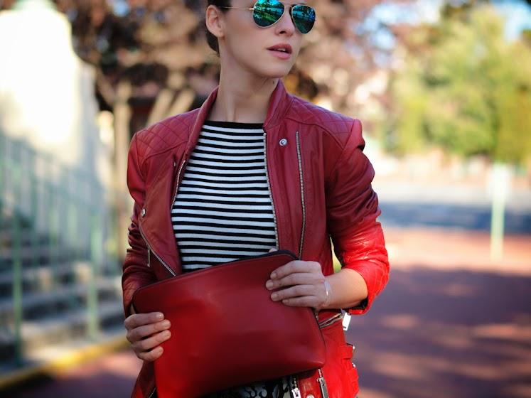 3.1 Phillip Lim, bittersweet colours, fall 2013, Fall trends, full skirt trend, graphic prints, Joe fresh, leather jacket, metallics trend, mirrored sunglasses, miu miu, RAY BAN, RED, street style, Zara,