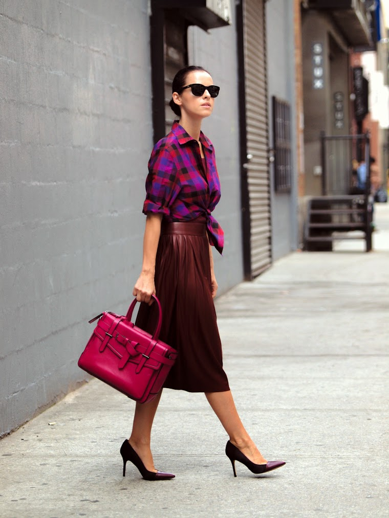 bittersweet colours, NYFW, New York, fall colors, burgundy color, Reed Krakoff, Sam Edelman, pleated trend, Plaid trend, COLORS, street style,