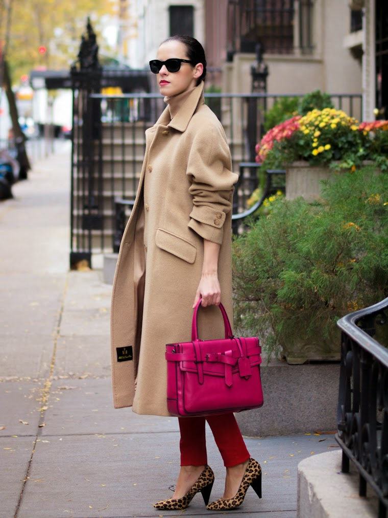 bittersweet colours, New York, CAMEL coat, vintage, Reed Krakoff, PINK TREND, Mango, RED, animal print, Ralph Lauren, turtleneck, fall colors, fall 2013, Fall trends, street style,