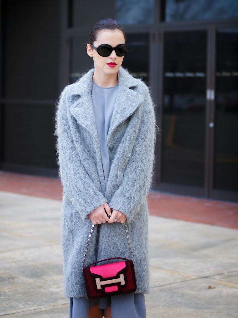 bittersweet colours, Chanel lipstick, fuzzy coat, grey coat, HM, pierre hardy, PINK, silk dress, street style, Topshop, Tres Jewellery, winter trends,