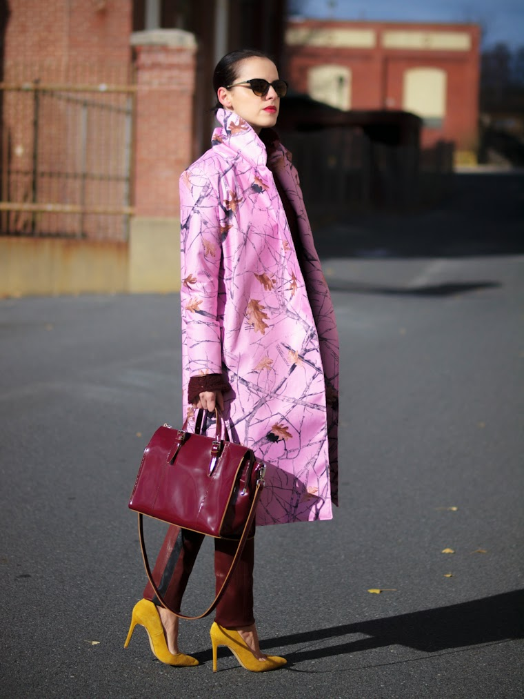 A.L.C leather pants, bittersweet colours, Burgundy, DIY, diy coat, DKNY, fall colors, fall print, Fall trends, PINK, Pink coat, prints, street style, Shoemint,