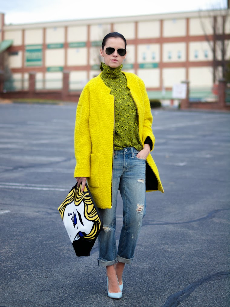 bittersweet colours, 3.1 Phillip Lim, pop art, Shoemint shoes, Zara, neon colors, pop art trend, boyfriend jeans, RAY BAN, Fall trends, street style, prints, yellow,