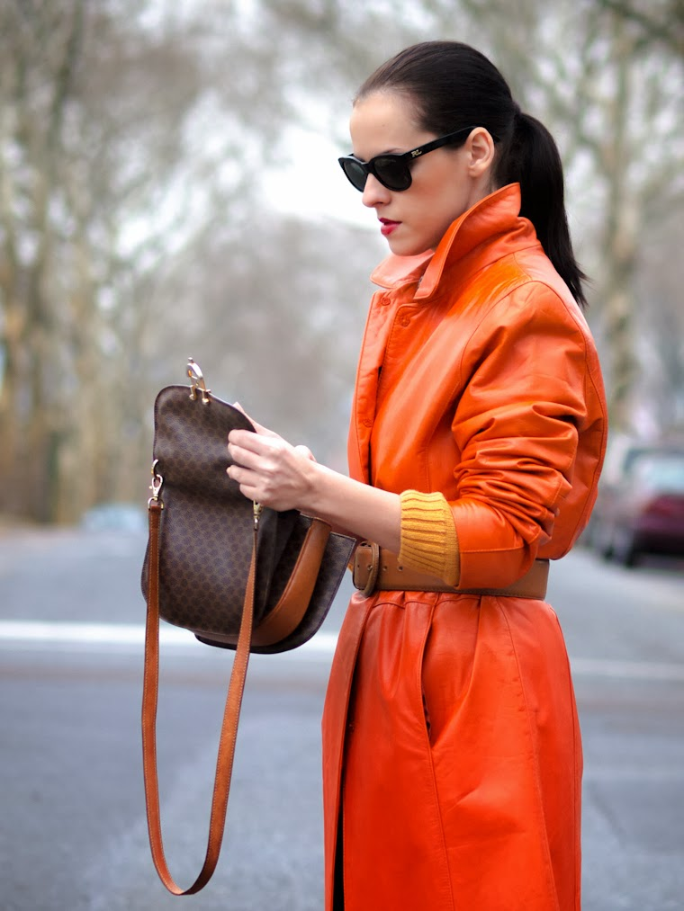bittersweet colours, orange, COLORS, leather jacket, Celine, vintage, Christian Louboutin, Ralph Lauren, street style, WInter 2013, winter trends, TANGERINE COLOR