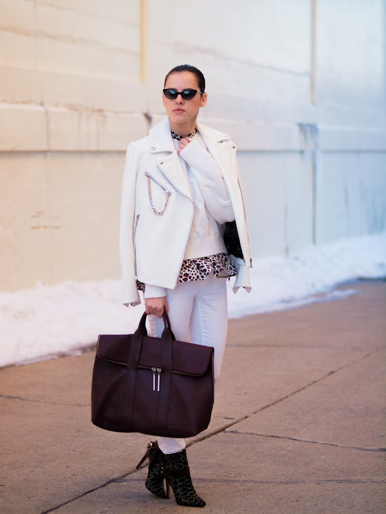 bittersweet colours, white on white, white leather jacket, Joe fresh, 3.1 Phillip Lim, Tres Jewellery, Sam Edelman, burgundy trend, leopard print, street style, ootd, Tres Jewellery, winter trends, white trends,