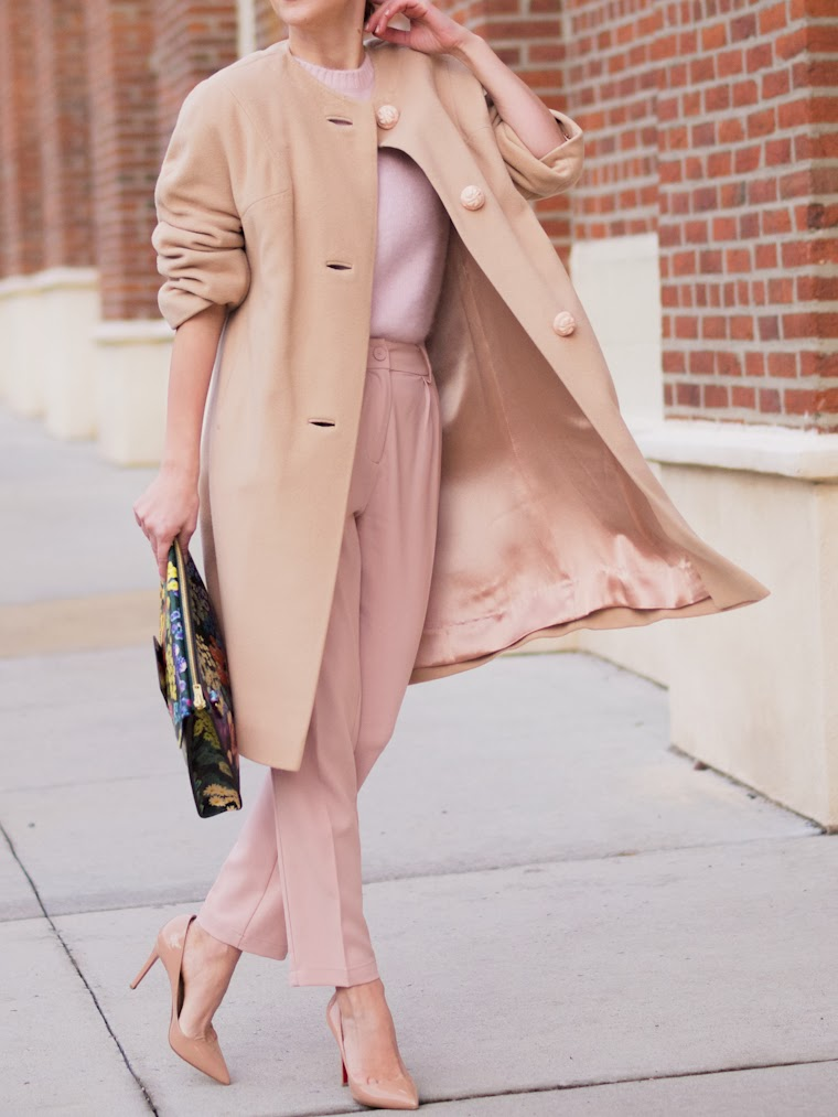 bittersweet colours, blush colors, pastel trends, PINK TREND, sophie hulme, Christian Louboutin, floral prints, blush coat, street style, winter pastels,