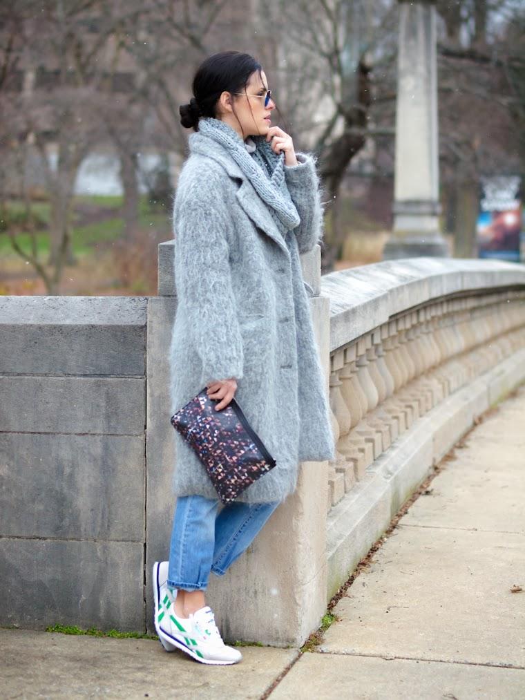 bittersweet colours, fuzzy coat, gray coat, Levis, reebok, Proenza Schouler, RAY BAN, jeans trend, oversized coats, winter trends, street style, gray matter,