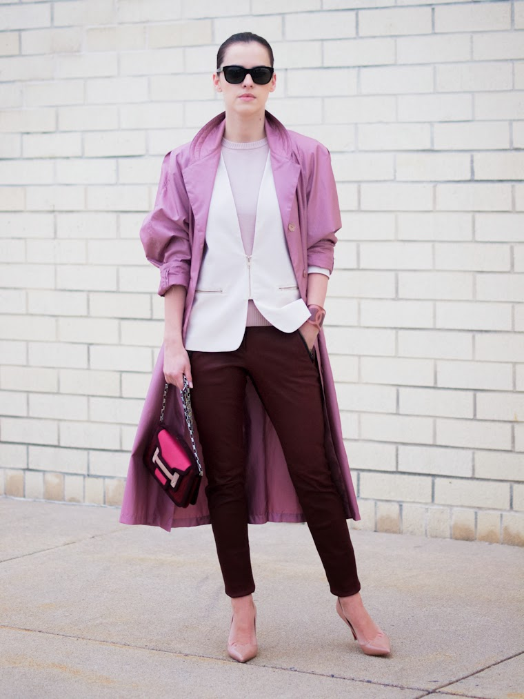 A.L.C leather pants, bittersweet colours, burgundy color, CHANEL, Christian Louboutin, layers, leather pants, pierre hardy, Pink coat, PINK TREND, rose, street style, Trench coat,