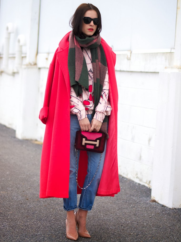 bittersweet colours, blue jeans, Christian Louboutin, colorful coats, Levis, pierre hardy, prints, street style, TANGERINE COLOR, winter trends, vintage,