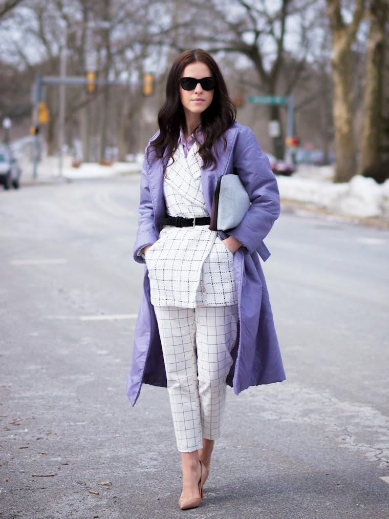3.1 Phillip Lim, bittersweet colours, Christian Louboutin, colorful coats, Grids prints, Grids trend, purple coat, Ralph Lauren, street style, white on white, lavender, pastel trends