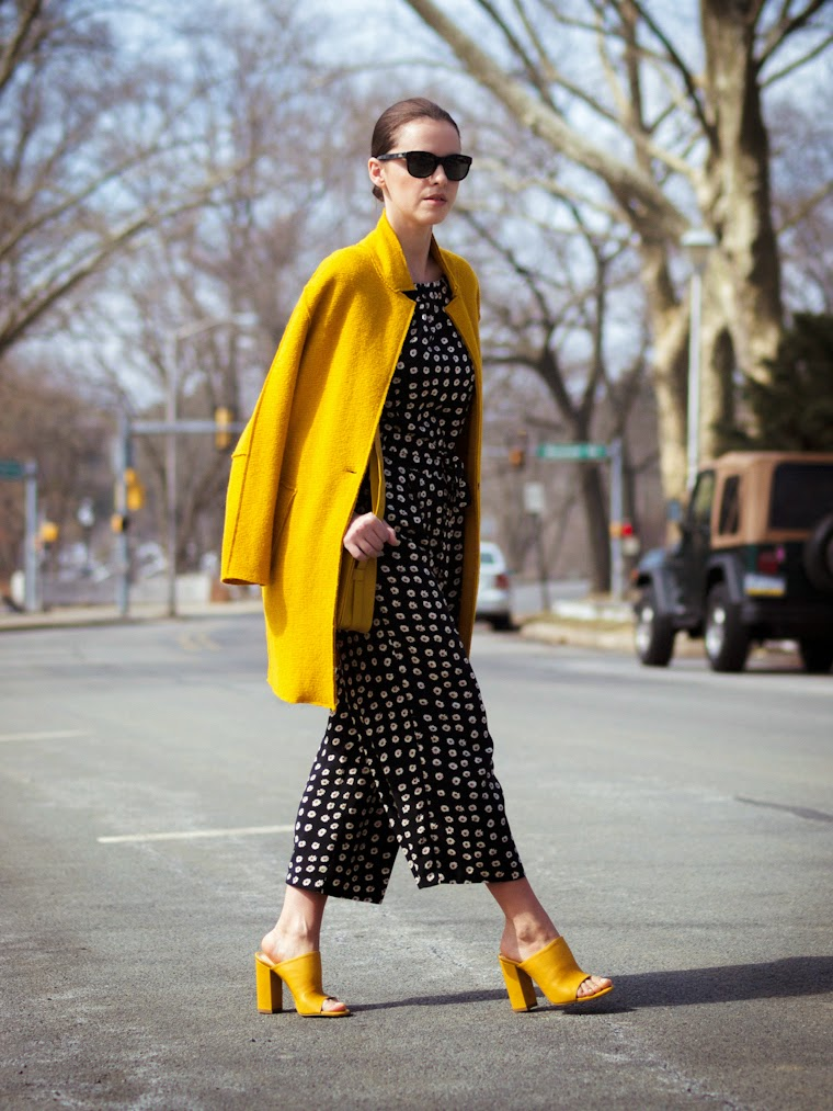 bittersweet colours, colorful coats, culottes, Joe fresh, JUMPSUIT, mules, Spring trends, street style, yellow, yellow coat, floral prints,