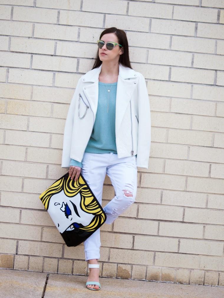 3.1 Phillip Lim, bittersweet colours, boyfriend jeans, Joe fresh, mint color, pop art, Prada sunglasses, Rachnel Zoe, Spring, street style, white leather jacket, white on white, Zara, Phyllis +Rosie,