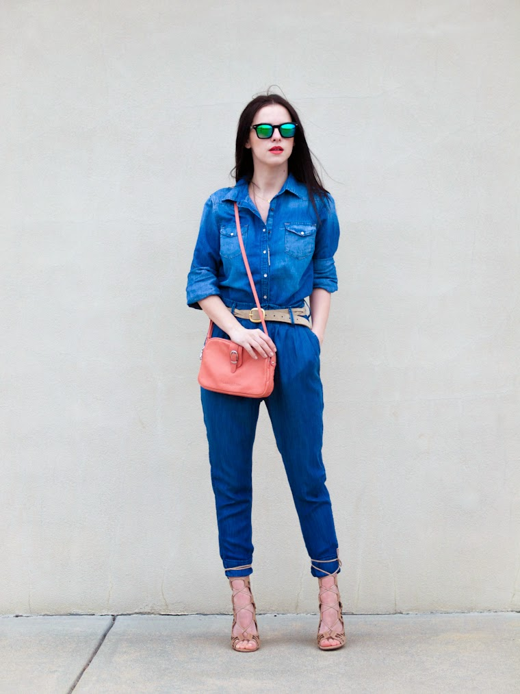 bittersweet colours, blue jeans, denim on denim, Lancaster Paris, Mango, mavi jeans, mirrored sunglasses, Modern Vice sandals, Spring, street style, lace up sandals,